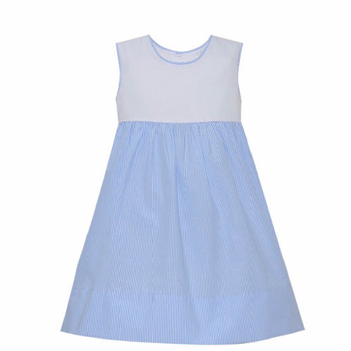 Lullaby Set Light Blue Stripe with Yellow Trim Dress