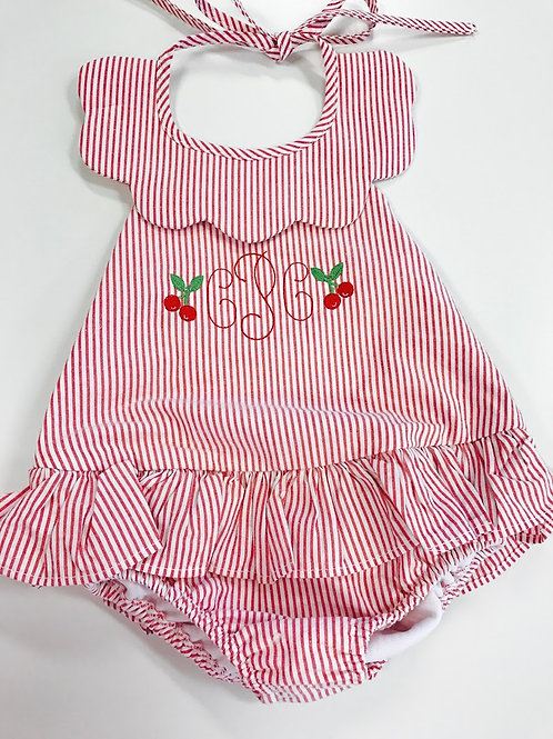 Little English Red Scallopped Swimsuit