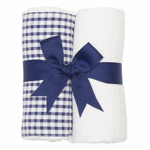 3 Marthas Navy Gingham Burp Set