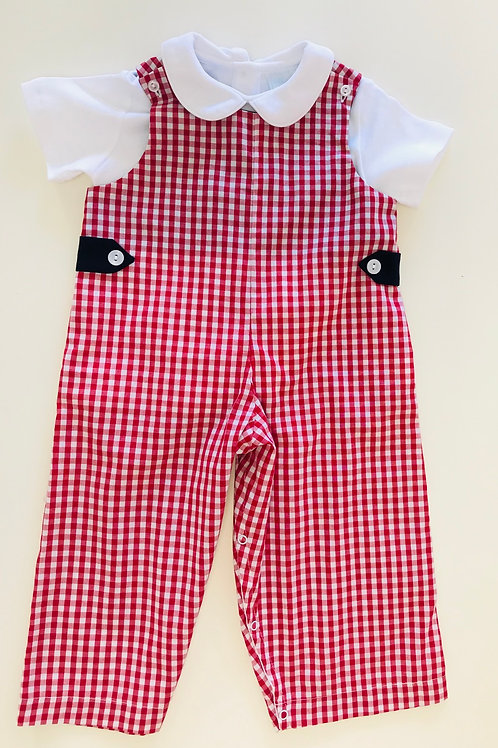 Lullaby Set Red Gingham with Navy Trim Longall 12, 18 mo