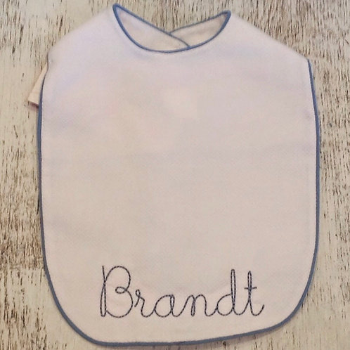 White Pique Bib with Blue Piping