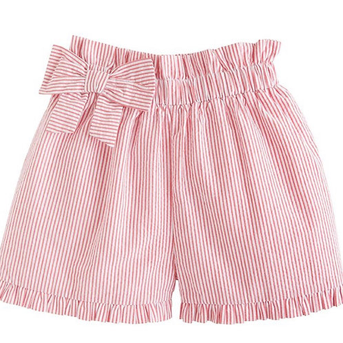 Little English Red Seersucker Paperbag Bow Shorts