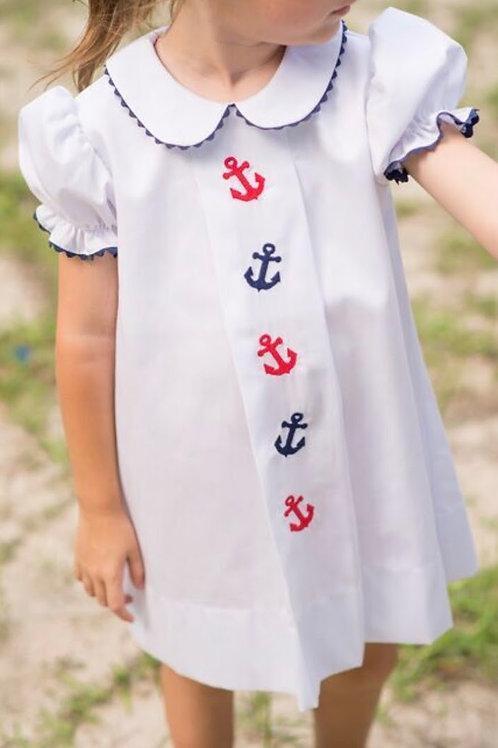Lullaby Set White Pique Anchor Dress 18, 24 mo, 4t