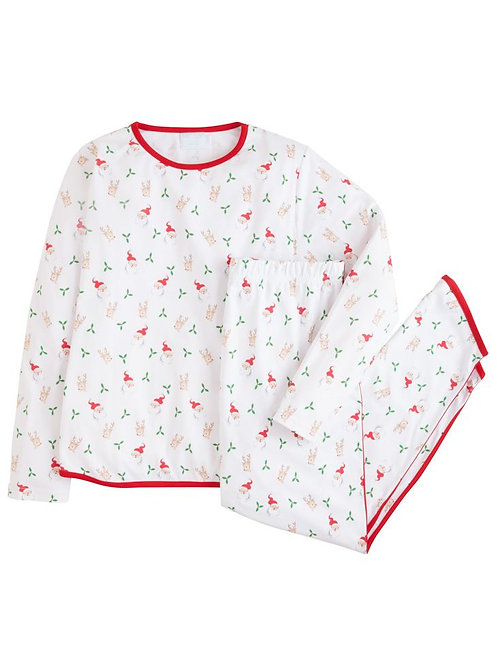 Little English Mama Santa and Reindeer Printed Jammies-WOMANS SMALL