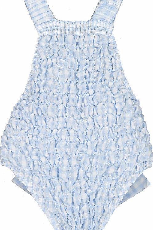 Sal & Pimenta Bluebell Gingham Frilled Swimsuit