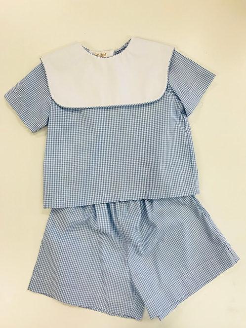 Rosalina Light Blue Gingham Short Set-18 mo