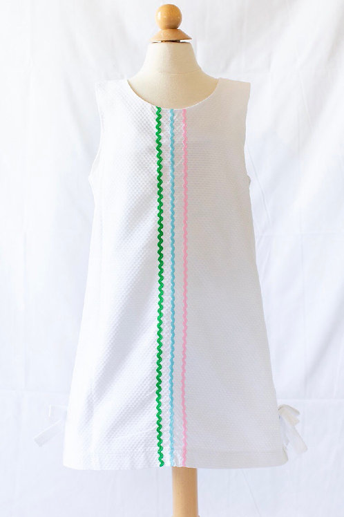 Peggy Green White Pique Sophie Dress with Ric Rac