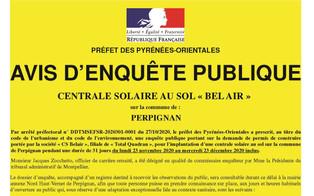Perpignan : Avis d'enquête publique CENTRALE SOLAIRE AU SOL « BEL AIR »