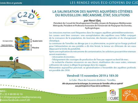 Conférence : la salinisation des nappes aquifères côtières