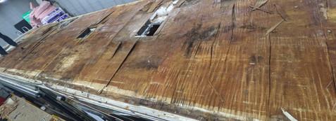 Class A motorhome, fiberglass roof leaked all along both edges