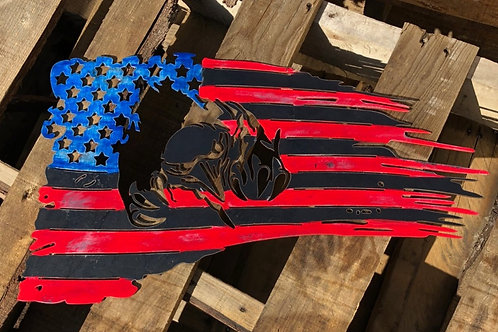 Distressed Painted Eagle American Flag