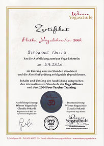 Zertifikat Yoga Ausbildung Stephanie