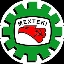 Logotipo de Mexteki. Engrane con el águila de hecho en México.