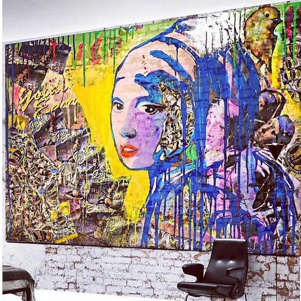Mural Girl with the Golden Earring wall art @ Knokke-Heist (BE)