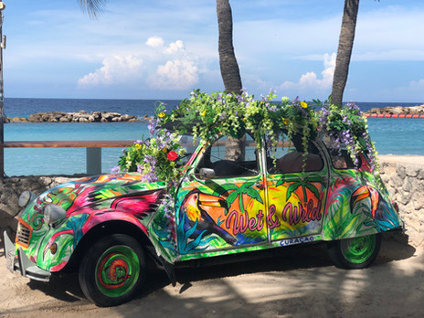 "Finished customized Citroen 2CV  at ""Club Wet and Wild"", Curacao"