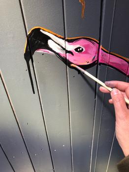 painting Flamingo's inside beachclub WIJ at Scheveningen