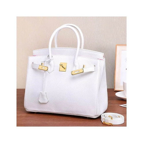 White Genuine Leather bag, Ready to be customized