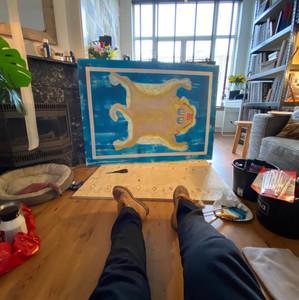 """""""Wooden Tiger rug"""" in Livingroom"""