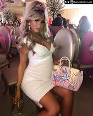 Hannah Elizabeth with customized bag