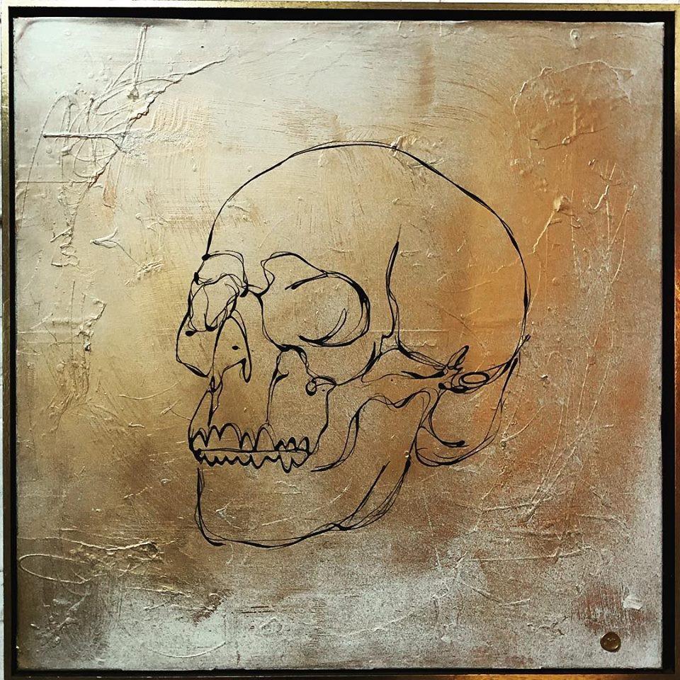 """Gold Skull"" painting"