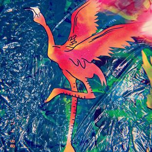 Prepping hand made Flamingo decorations for Blue Marlin Ibiza (ESP) work in progress