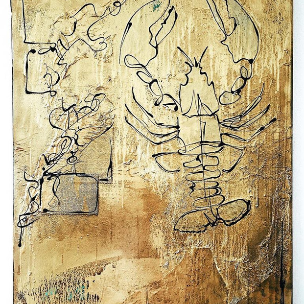 """""""Gold Lobster"""" Painting"""