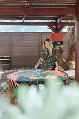 Live customizing a table at Kontiki beach resort Curacau