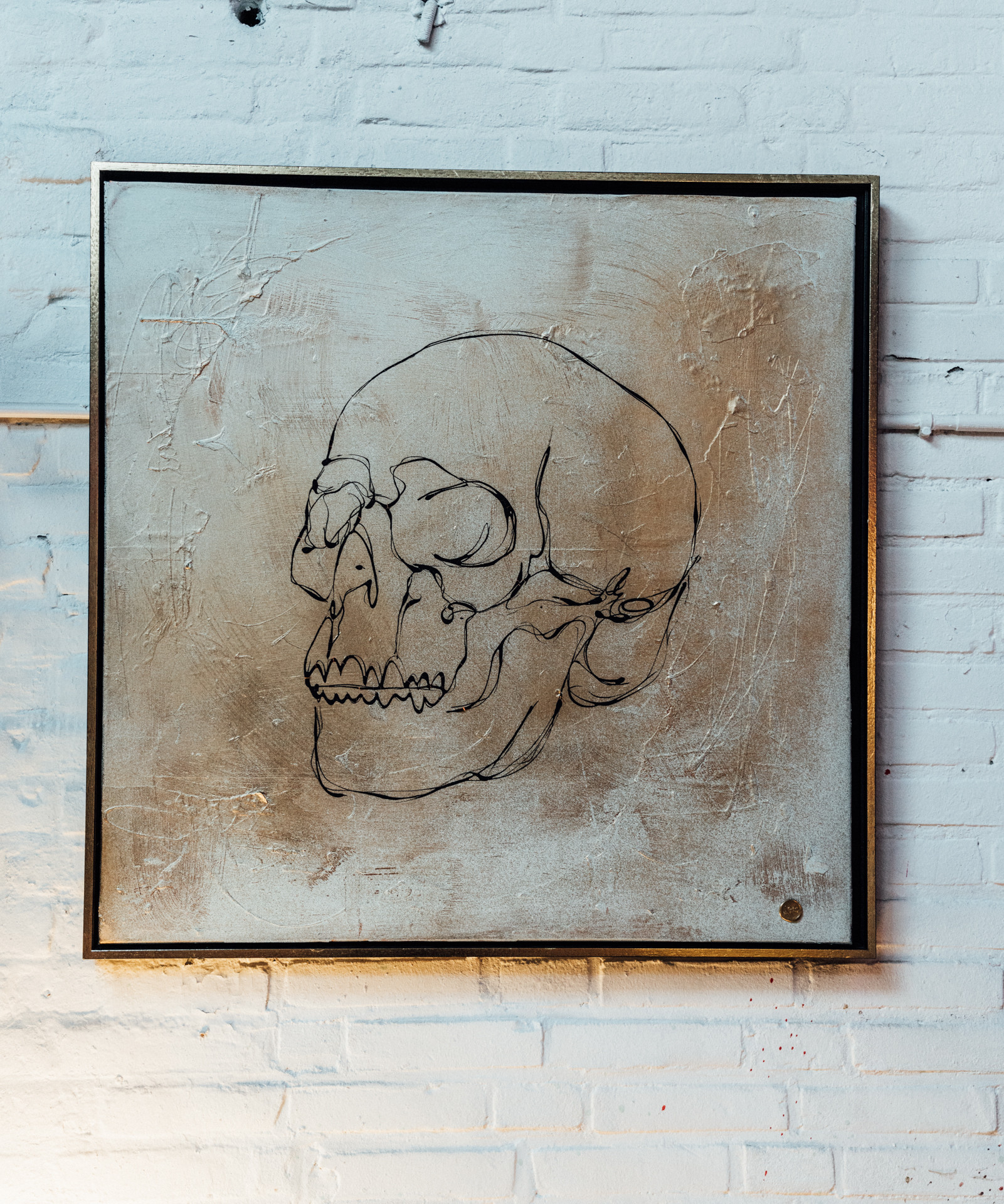 """Gold Skull"" painting"