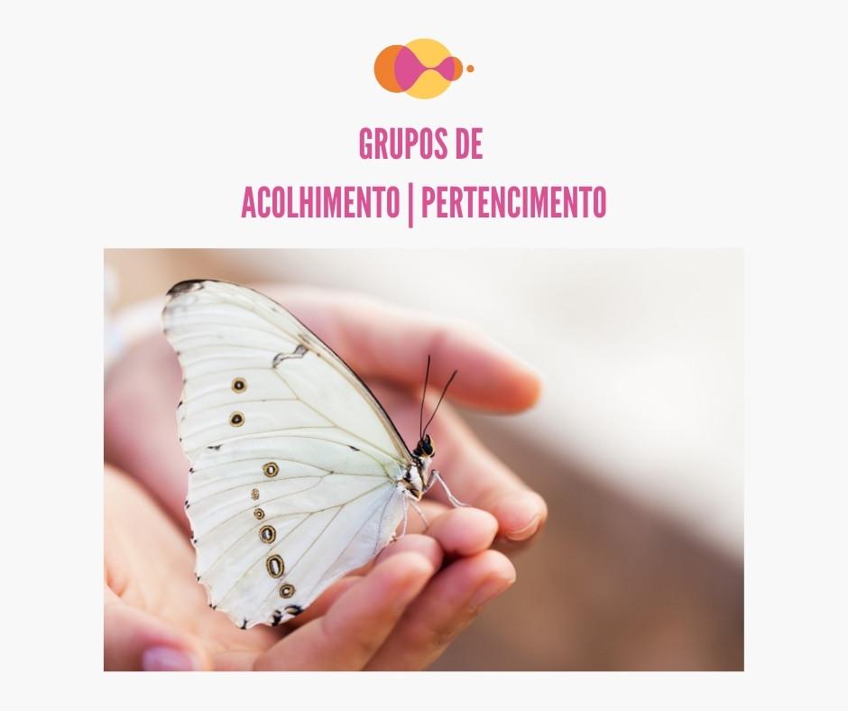 Na imagem está a logo da Inclusivamente, uma foto de uma borboleta que repousou nas mãos de uma pessoa e a frase que diz Grupos de acolhimento pertencimento