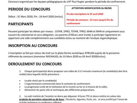 """{Continuité pédagogique} Lancement du concours de cuisine """"UN TALENT DANS L'ASSIETTE"""""""