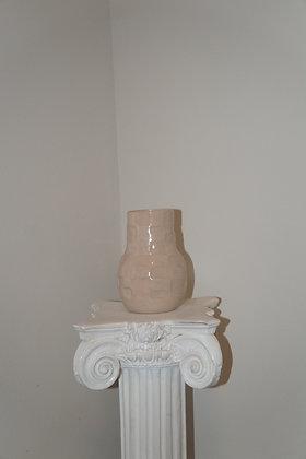 Checkered Vase White & Lt Pink  Glossy Marble