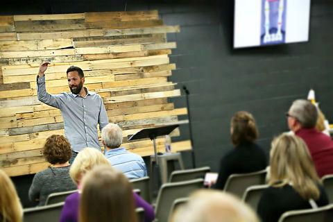 David Rausch speaking to audience