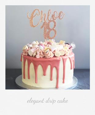 elegant pink drip cake