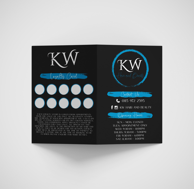 Front and back of booklet for KW Hair.pn