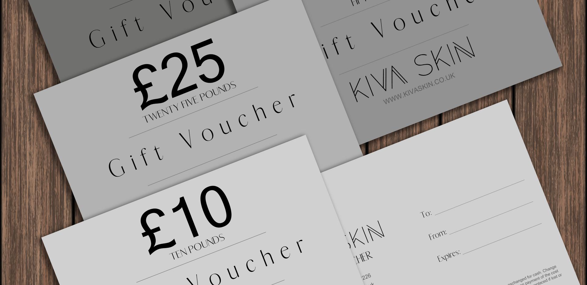 KIVA SKIN Gift Voucher Design mockup
