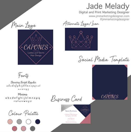 Capones Hairdressing logo and branding design by JMMARKETINGDESIGNER