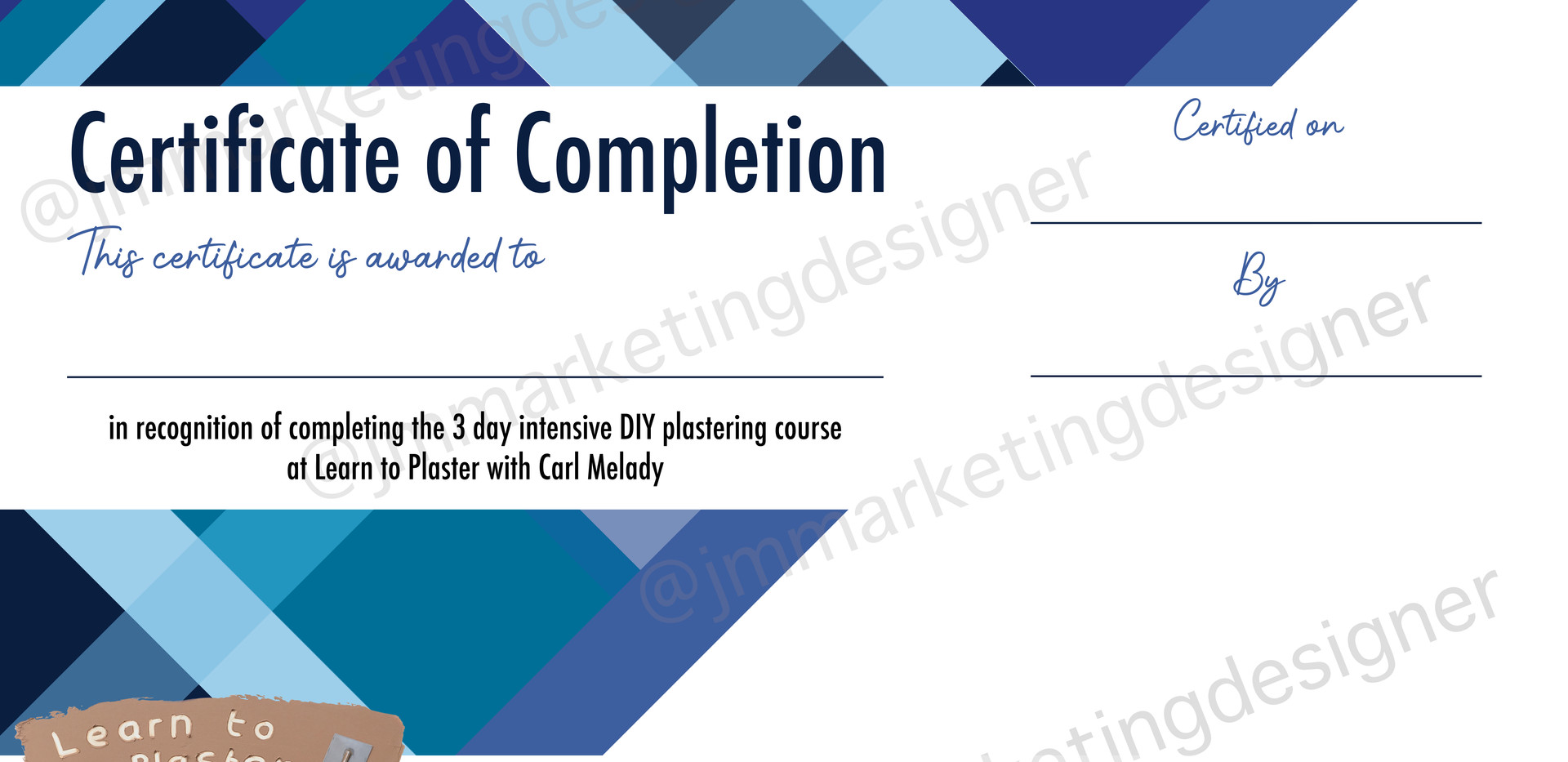 Learn to Plaster with Carl Melady certificate design