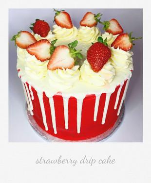 strawberry drip cake 'strawberries and cream'