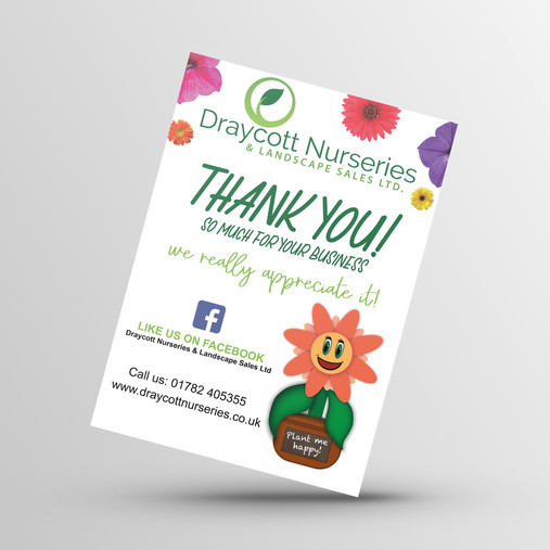 A6 Thank you card for Draycott Nurseries