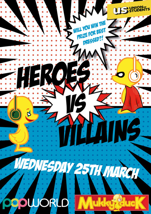 Heroes VS Villains Club night Poster
