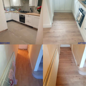 before and after new flooring and skirti