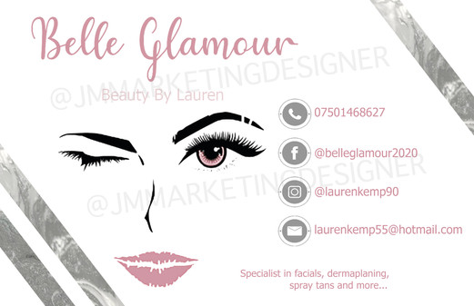 Belle Glamour Business Card Front