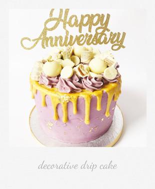 white chocolate drip cake anniversary