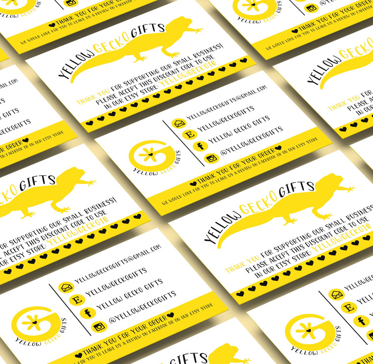 Yellow Gecko Gifts Business Card Design.