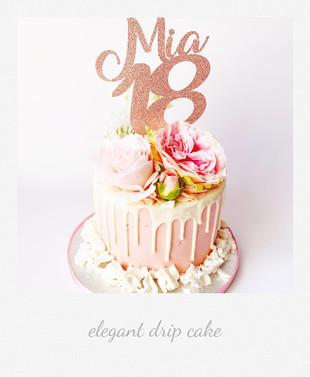 elegant drip cake pink roses