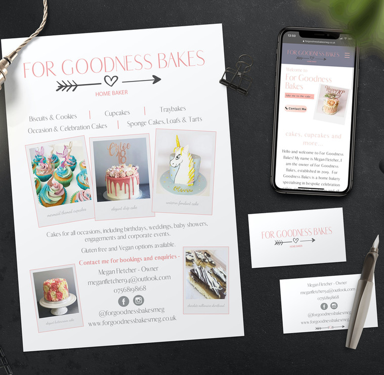 For Goodness Bakes Leaflet and Business Card Design