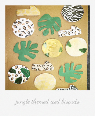 Jungle themed iced biscuits