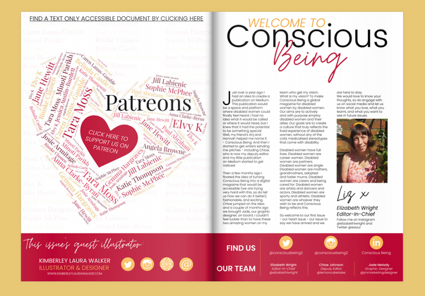 Conscious Being magazine - Inside Cover and Editors Letter