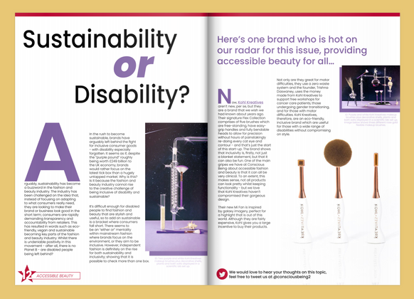 Conscious Being Magazine - Sustainability or Disability column