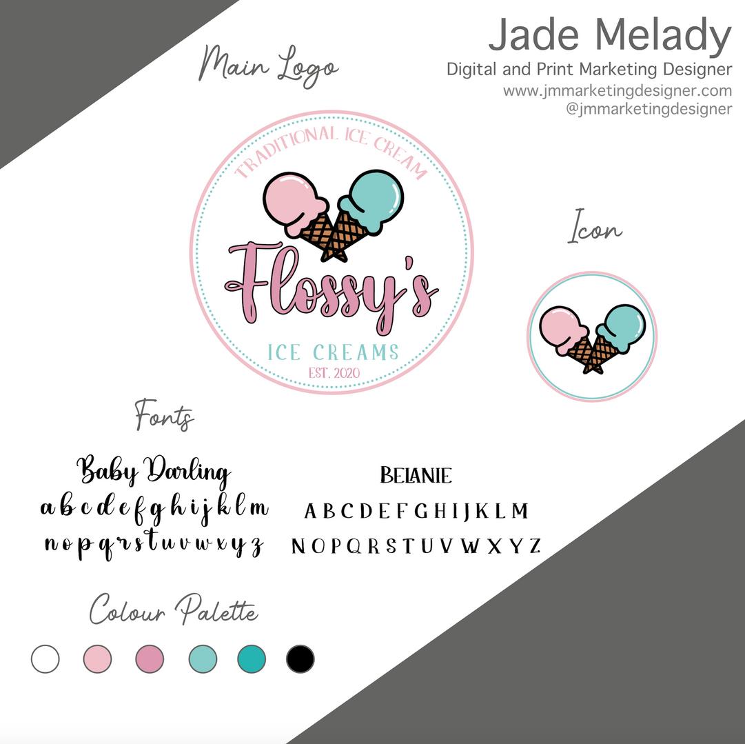 Flossy's Ice cream logo design by JMMARKETINGDESIGNER